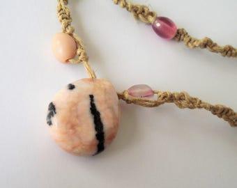 Natural Stone Pendant Necklace, Pink Stone Necklace, Hemp Necklace, Bohemian, Boho, Hip, Hipster style,