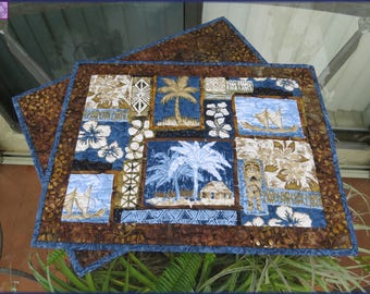 Quilted Placemats Palm Tree Tropical Island 401