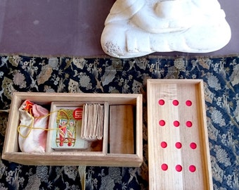 Japanese Game Box and Pieces, Vintage - Vintage Timber Box, Game Pieces, Counters, Tiles and Cards, Japan Mid-20th Century