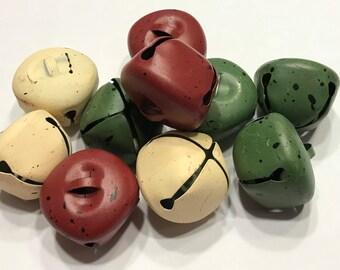 3 large matte painted jingle bells, 35 mm (LR)
