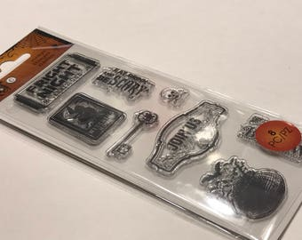 8 piece fright night clear stamp set, 15-50 mm