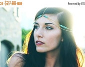 COACHELLA FESTIVAL SALE Summer Gold Genuine Turquoise Head Chain, Chain Head Piece, Hair Jewelry, Chain Headband, Chain Headdress