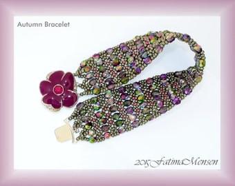 TUTORIAL Four Bracelets One Design: Autumn Flower, Love me Tender, Rose Quartz, and Aurora Borealis.
