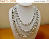 On Sale Vintage Aluminum Triple Chain Necklace Item K # 1139