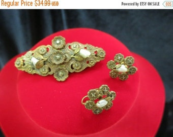 On Sale Vintage Pressed Metal Marcasite Pin And Earring Set