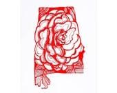 Letterpress Alabama Camellia