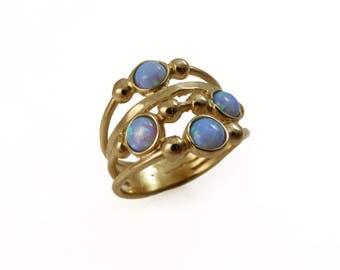 Gold opal ring. Opal ring. blue Opal gold ring. Wide ring. Wide gold ring. Wide opal ring. Wave gold ring. Wave opal ring.