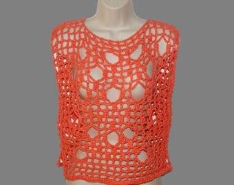 Orange Cotton Shirt, Crochet Top, Plus Size Shirt, Dolman Top, Layered Look Tee, Ripped Tee, Grunge Top, Orange Mesh Tee, Plus Size Tunic