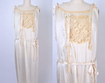 Vintage 1920s Nightgown 20s Lingerie Dress Silk Charmeuse Gown Size Large