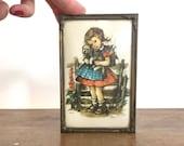 Vintage Irma Wilde Illustration, Kitsch Miniature, girl with her dog, kids room decor, mid century illustration