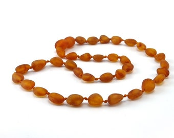 Amber Baltic Necklace Toddler Child Teething Baby Beans Unpolished Cognac Beads