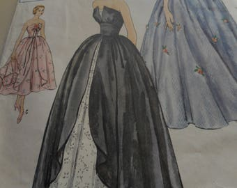 Vintage 1950's Simplicity 8346 Evening Dress Sewing Pattern, Size 12 Bust 30