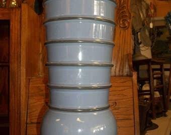 Vintage Haeger Tall Blue and Black Vase