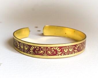 Vintage Brass Cuff Bracelet, Handcrafted Adjustable, Red Enamel Greek Folk Motif