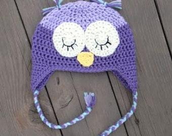 Purple Baby Girl Owl Hat, Purple and Aqua Toddler Girl Hat, Little Girl Owl Hat