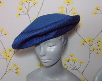 Vintage 60s does 40s Cerulean Blue Stitching Design Hardy Amies Beret Hat Two Big Buttons