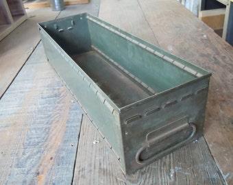 Vintage Industrial Metal Long File Drawer