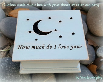 music box, wooden music box, custom made music box, moon, stars, personalized music box, musical box, valentines day gift, Mother's day gift