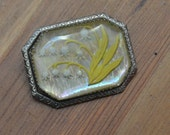 Beautiful antique victorian edwardian lily of the valley reverse painted intaglio glass brooch with rhodium plate silver frame / YYKWNJ