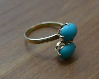 Lovely early antique victorian style 14k gold ring with persian turquoise / turquoise ring / gold bypass ring / BIQQMA