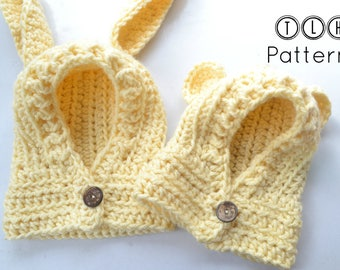 Crochet hooded cowl pattern, crochet hood with rabbit and bear ears, hooded cowl with ears, 5 sizes - 6 months to adult, pattern no 90
