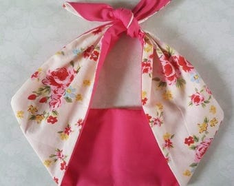 pink flower rose vintage 50s style rockabilly  bandana,  rockabilly pin up psychobilly  hairband headband