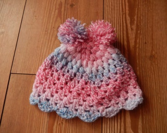 crochet baby girl hat / crochet baby girl cap / hat with pom poms / multi color cap 0-3 month