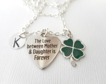 The Love Between Mother and Daughter is Forever, Four Leaf Clover- Initial Necklace/ Personalized, Stepmom Gift, mom jewelry, moms initial
