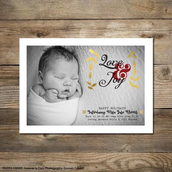 Photo Christmas Card : Faux Gold Foil Love & Joy Announcement Photo Holiday Card Printable