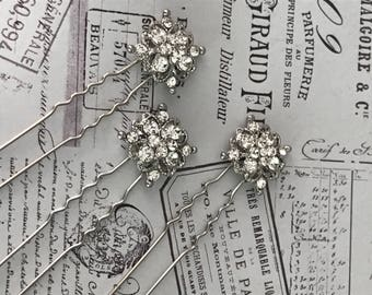 Bridal hair pins  , Bobby pins , Bridal hair accessories - silver hair pins - hair pins bridesmaid - crystal pins