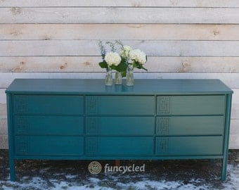 Turquoise Mid Century Dresser – Long