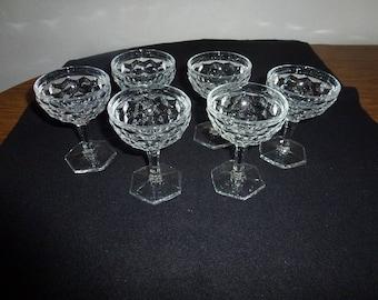 6 Vintage Fostoria American Diamond Cocktail /Sherbet Glasses
