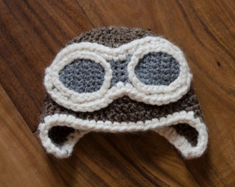 READY TO SHIP! Aviator Crochet Hat, Baby Photo Prop, Pilot Hat, Baby Hat, Sizes 3-6 Months or 6-9 Months