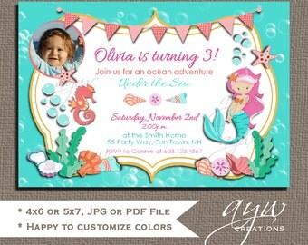 Mermaid Birthday Invitation Printable 1st Birthday First Birthday Mermaid Party Mermaid Birthday Invites Photo Card Seahorse and Seashells