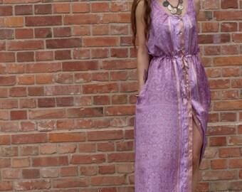 indian honeymoon rose silk dress/ hand block printed silk dress/ ethnic clothing/ gipsy maxi dress / silk boho gown/ summer maxi dress