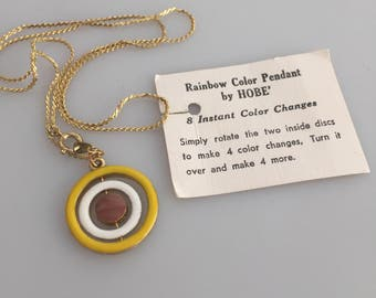 1970s Vintage HOBE Pendant Rare Hobe Necklace RAINBOW Color PENDANT New Old Stock 8 Instant Color Changes  Enameled Pendant New Old Stock