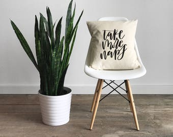 Take More Naps Pillow Cover •Modern Farmhouse •Calligraphy Pillow Cover • Rustic Home Decor • Hand Lettered Throw Pillow • FREE SHIPPING
