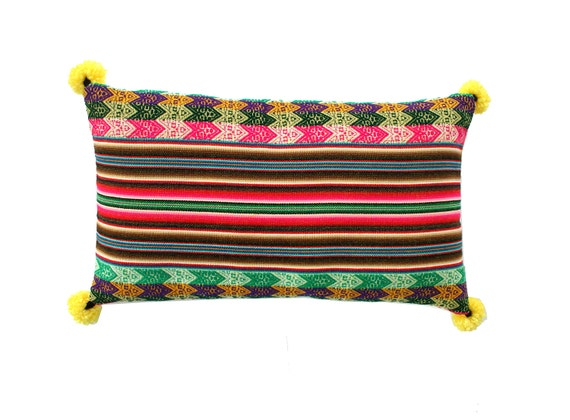 Pillow COVER,  Peruvian textile, multi-striped, yellow, rectangular, pom poms