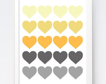 Grey Gray Yellow Hearts Print, Mustard and Gray Heart Art, Gold and Grey Wall Art, Home Wall Art Hearts, Home Office Print, INSTANT DOWNLOAD