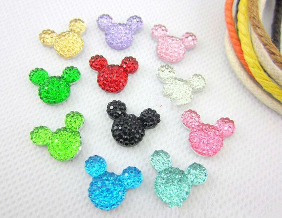 40pcs Mixed Colours 14mm Flat Back Mouse Head Resin Rhinestones Gems - DIY Craft Embellishments by MajorCrafts