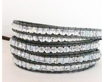 Grey Leather Wrap Bracelet - Crystal Beads On Grey Leather