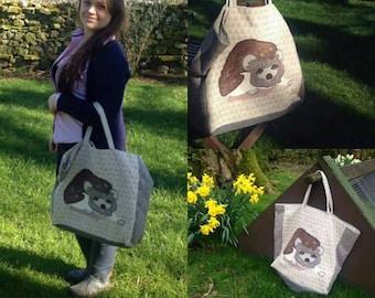 """Handmade Custom Personalised Shopper Carrier Hand Bag Clutch  18""""x18"""" 45x45cm Bye Brytshi"""
