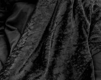 """3 Yards of 60"""" Vintage Crushed Stretch Panne Velvet Fabric in Black. Sewing, Apparel, Dresses, Draping, Backdrops. High Quality. Item 4191F"""