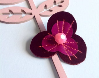 Leather Pansy Flower Brooch, Fuschia, Pink & Dark Red - Pansy Brooch - Textile Flower - Flower Jewellery - Leather Flower