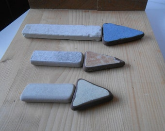 Sea pottery , Fantasy mix beach pottery shards, triangles, rectangles,  mosaic, decor, craft supplies, 6 pieces     lotto245