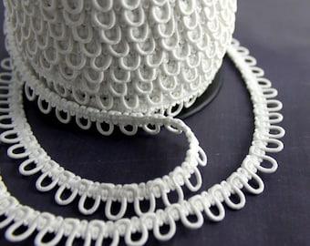 1 Yard White Elastic Bridal Button Loops
