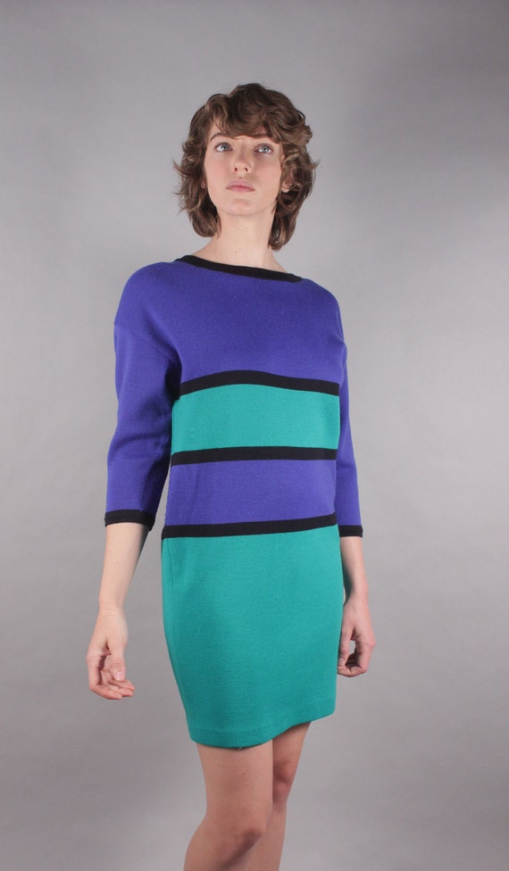 80s Cobalt Teal Color Block Sweater Dress