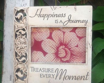 HAPPINESS is a JOURNEY' Picture Frame / 4 x 6 / Antique White Table Top or Hanging Picture Frame