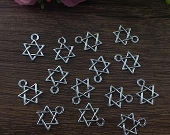 20pcs Star, Silver fit Pendants bracelet beaded Charms