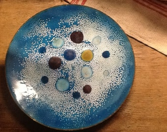 Turquoise Enamel on Copper Tray